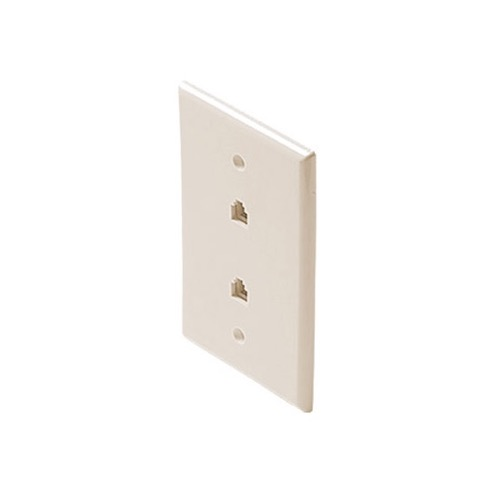 Steren 300-214LA Dual Light Almond RJ11 Telephone Wall Plate 4-Conductor Modular Flush Face Jack 2 Socket 6P4C RJ-11 Face Plate Duplex Audio Signal Data Line Cord Plug, 2 Outlets, Part # 300214-LA