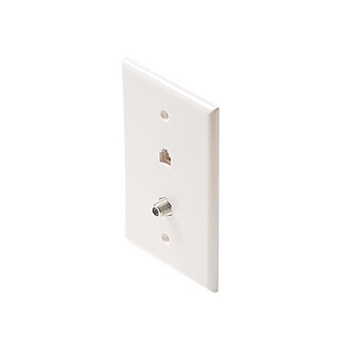 "Steren 300-233WH RJ11 F Jack Phone TV Mid Oversize 3 1/8"" x 4 7/8"" Inch Wall Plate White Modular F-Connector F-81 Connector and Phone 6P4C Jack Connector Combo Telephone Coaxial Cable Connectors, Part # 300233-WH"