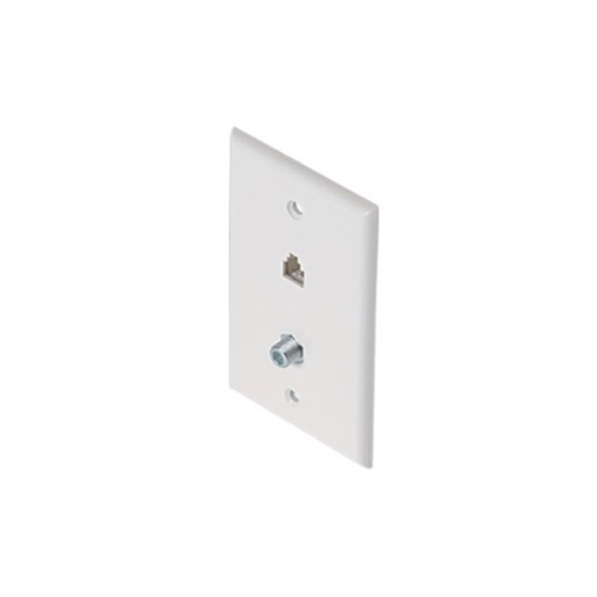 Steren 300-235WH F Connector Jack Phone Wall Plate White 3 GHz F-81 Connector Phone Modular 6P4C Jack RJ11 Connector Combo Telephone RJ-11 Jack TV Coaxial Cable Connectors, Part # 300235-WH