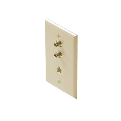 Eagle Dual F-81 Wall Plate Phone Jack RJ11 Ivory Coaxial Telephone Wall Plate TV Faceplate Modular RJ-11 Port Combo F81 TV Phone Wall Plate 75 Ohm Connector Combination Flush Mount Wall Plate