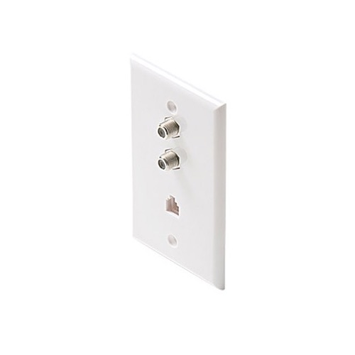 Eagle Aspen 502W Wall Plate with Dual F-81 Connector Jack RJ11 TV Telephone Combo Wall Plate White 2 Coaxial F-Connector 1-Phone 4C Modular RJ-11 Port 75 Ohm Connector Combination Flush Mount Wall Plate, Part # 502-W
