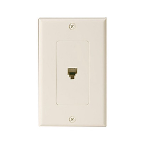 Eagle Wall Plate Telephone Decora RJ11 Ivory 6P4C 4-Conductor Wall Plate Jack Decorator Single Phone Wall Plate Duplex Telephone Flush Mount Line Cord Audio Data Signal 1 Outlet