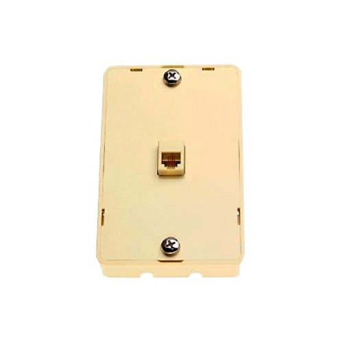 Leviton 830-C2455-I Surface Mount Wall Jack + 2 Jacks One On Each Side Ivory Modular Wall Mount 1 Pack Telephone Hanging Bracket, Data Signal Plug Jack Flush, Part # 830C2455-I