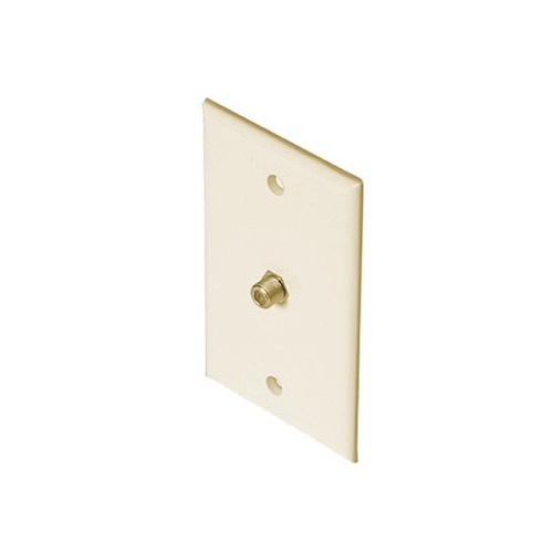 Steren 200-251AL F-Connector Wall Plate Almond Coax Cable Video Satellite TV Antenna 75 Ohm Signal Plug Connector Flush Mount Outlet Single Port Cover, 1 Pack, Part # 200251-AL