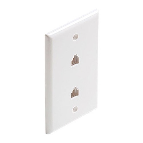 Steren 301-214WH Dual 2 Port 4C UL Flush Wall Plate White RJ11 6P4C Wall Phone Plate Modular RJ-11 4 Conductor White Duplex Audio Signal Data Line Cord Plug, 2 Outlets, Part # 301214-WH
