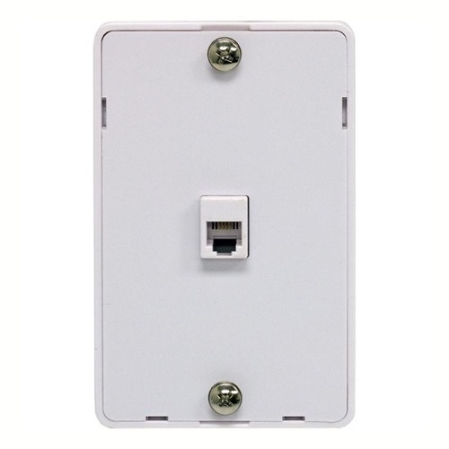 Steren 300-094WH Phone Jack Wall Plate Modular White Surface Mount 4 Wire Flush Telephone Line Plug Cover Wall Connect Hanger, Part # 300094-WH