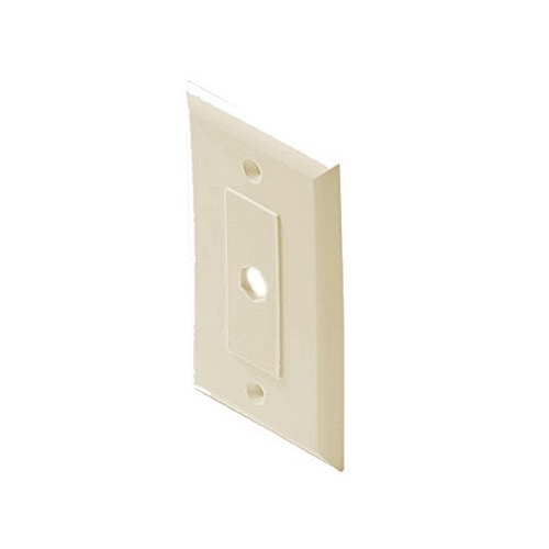 Steren 200-261IV Decorator Wall Plate Ivory 1 Hole Single Piece Hex Insert Single Gang Coaxial Pass Through Connector Device Cable Hole 75 Ohm Plug Connector Nylon Flush Mount Cover, Part # 200261-IV