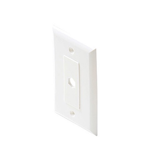 Steren 200-261WH Decorator Wall Plate White 1 Hole Single Piece Hex Insert Single Gang Coaxial Pass Through Connector Device Cable Hole 75 Ohm Plug Connector Nylon Flush Mount Cover, Part # 200261-WH