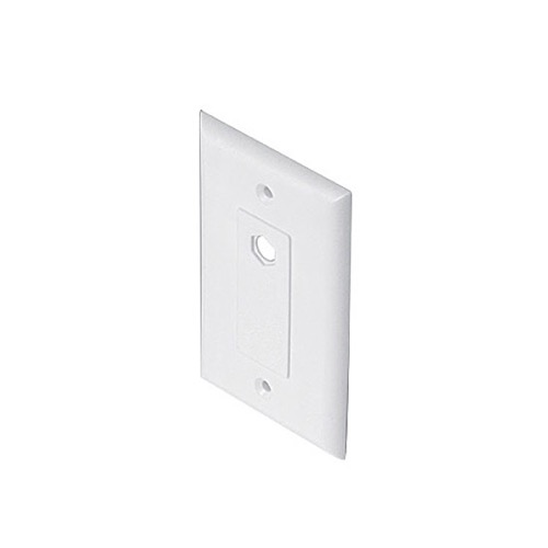 Steren 200-263WH Decorator Wall Plate White 1 Hole Port Offset Hex Standard TV Barrel Plug Flush Mount Plate, Part # 200263-WH