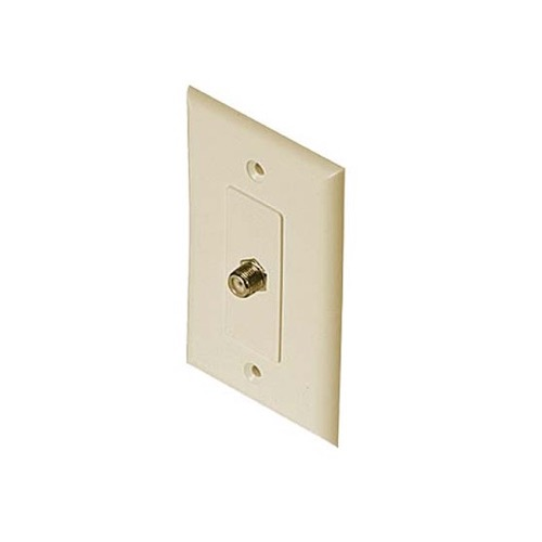 Eagle Wall Plate Wall F Jack Ivory F-81 Video 1 GHz 75 Ohm 1 Pack HDTV Aerial Antenna Plug, Flush Mount Female Outlet Connector