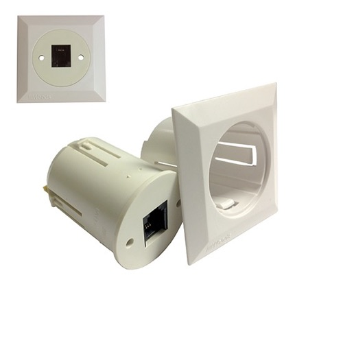"Eagle Telephone Wall Plate With RJ11 Jack 4-Conductor Outlet White Mounts Directly To Drywall or Paneling Flush Mount Screw Terminals 1 1/2"" Inch Hole CAT 3 Modular Custom Round Flush Mount Phone Wall Insert System"