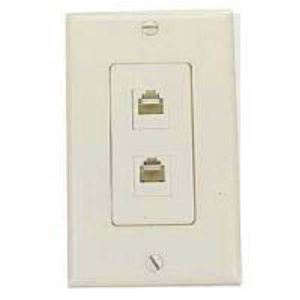 Leviton Dual Phone Wall Jack Plate Ivory Decora RJ11 Modular 6P4C C2447-I Duplex Telephone Flush Mount Line Cord Audio Data Signal 2 Outlet, Part # C2447I