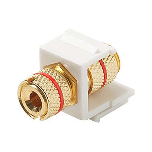 Steren 310-468WH-10 Keystone Single Banana Binding Post Insert 10 Pack Audio Speaker Double Red Band White 5 Way Jack Connector Gold QuickPort Audio Signal Component Snap-In Wall Plate Module, Part # 310468-WH-10