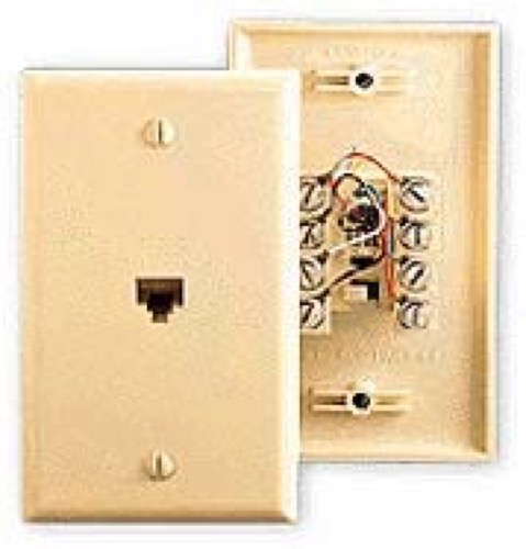 RCA TP6247 Wall Plate Phone Jack Ivory 6-Wire 6P6C RJ12 Conductor Modular RJ-12 Outlet Gold Wire Flush Mount 2 Line Audio Data Signal Plug Cover, Part # TP-6247