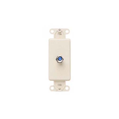Leviton 40681A Almond Decora Style F-81 Insert Face Flush Mount Nylon Cable Satellite Video Signal Outlet Insert for Large Device Jack Component Switch Opening Covers, Part # 40681-A