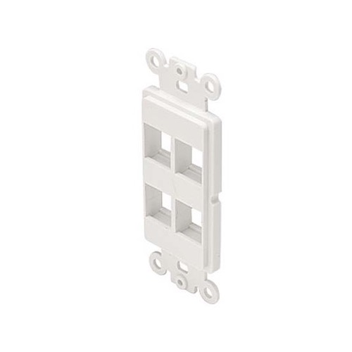 Steren 310-854WH Decorator 4 Port Keystone Insert Hole ABS Plastic White Easy Data Junction Component Snap-In Steren Insert, Part # 310854-WH