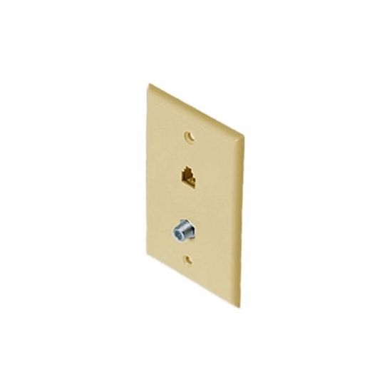 Eagle Phone Wall Plate Ivory F Jack Connector RJ11 F-81 Coaxial Combo RJ-11 Modular Data Line Audio Signal Video 75 Ohm Coaxial Cable Plug, 2 Device Outlet Cover, Part # Woods 0968I