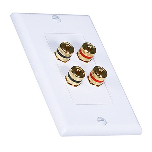 Eagle Banana Binding Speaker Wall Plate Dual 2 Pair White 4 Post Gold Plate Decora Decorative Insert with White Wall Plate Audio Cable Digital Signal Interface Sound Transfer Module