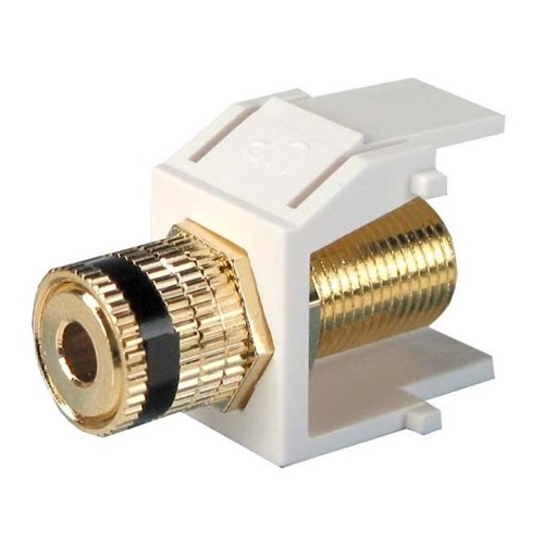 Honeywell Gold Plate Solderless Banana Binding Post Insert Jack Keystone White with Black Band Audio Speaker 5 Way Connector QuickPort Audio Signal Component Snap-In Wall Plate Module