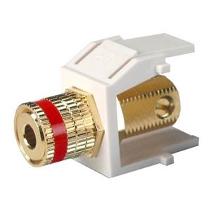 Eagle Keystone Single Banana Binding Post Solderless Insert Audio Speaker Red Band White 5 Way Jack Connector Gold QuickPort Audio Signal Component Snap-In, Plated Wall Plate Module, Part # CT-AUDINS-WH-R