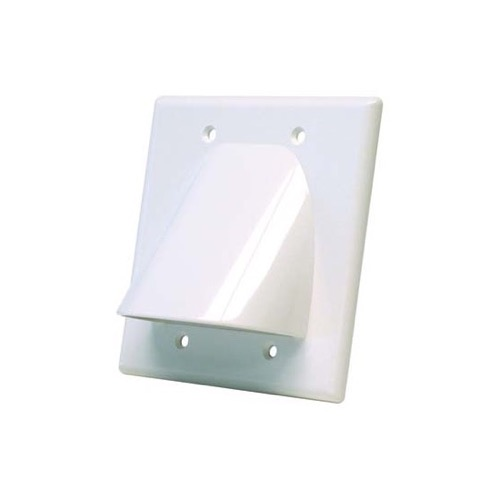 Eagle Dual Gang Bulk Cable Wall Plate White Double Gang Multiple Flush Mount, Audio Video Data Junction Component Wide Pass-Through Opening Slot