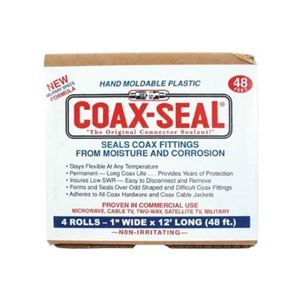 "Coax-Seal 106 4 Pack 1"" Inch x 12' Ft Rolls Hand Moldable Black Mastic 3/32"" Thick Commercial Pack Bulk Tape Coax Sealant Tape for Fittings Universal Waterproof Non-Conducting Roll Wire Wrap, Weather Tight Sealing Cable"