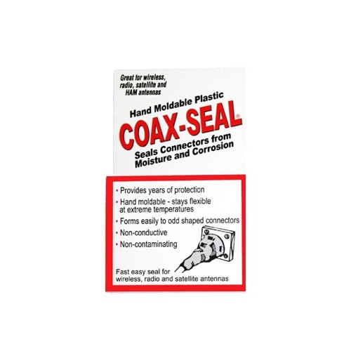 "Coax Seal Coax Sealant Tape for Fittings Hand Moldable Plastic 60"" Long Single Roll Seals Coax Fittings 1/2"" Wide 3/32"" Inch Thick Sealant Tape Universal Waterproof Non-Conducting Roll Wire Wrap, Weather Tight Sealing Cable, Part # 104"