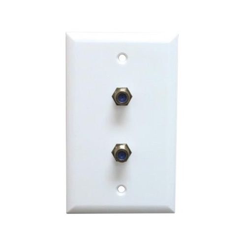 Steren 200-268WH 2.5 GHz Dual F-Connector Wall Plate White Flush Mount Satellite DIRECTV Approved High Frequency Coaxial Cable TV Video Duplex 75 Ohm Barrel Plug Jacks, Part # 200268-WH