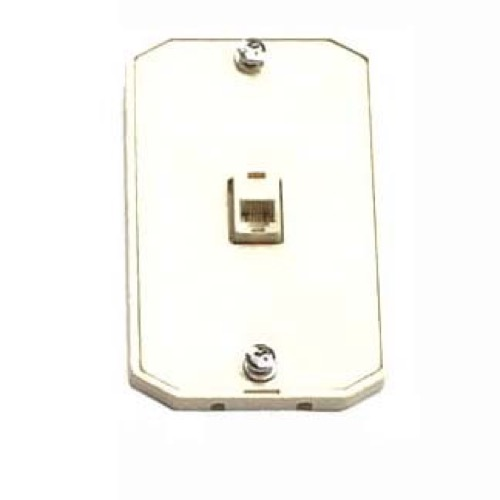 Leviton Wall Plate Phone Jack White Modular 6P6C RJ12 Surface Mount RJ-12 Conductor Surface Audio Data Line Signal Hanger Bracket, Each, Part # C2663-W, C2663W