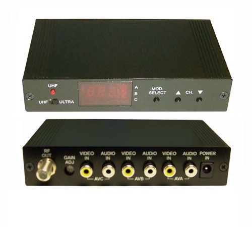 Pro Brand UHF Digital Modulator Agile 3 Channel CATV Three A/V Triple Input PLL Audio Video Modulator Home Theater Signal Combiner, Part # AVMOD3+