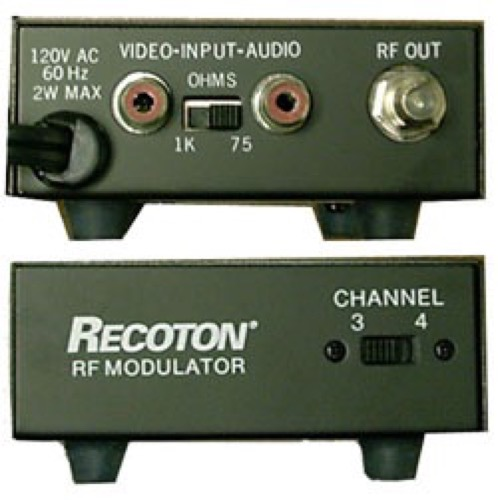 Recoton Modulator RF Audio Video Ch 3 / 4 RF Modulator AV Single Input Recoton VHF TV Signal Component Combiner, Switchable Output for Satellite Receiver / DVD / X-Box / Play Station, Part # V-645