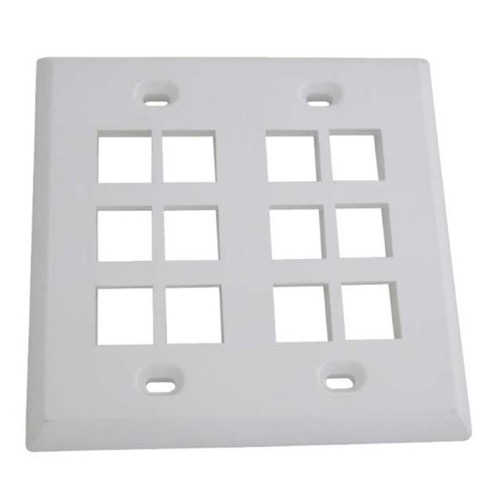 Eagle 12 Port Keystone Wall Plate White 2 Gang Cavity Quickport Dual Flush Mount Jack Hole Modular Audio Video Phone Data, Part # ACP12W