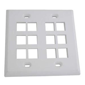 ASKA KWP-12 12 Port Keystone Wall Plate White 2 Gang Cavity QuickPort Flush Mount Audio Video Modular Telephone Data Plug Connection, Part # KWP12
