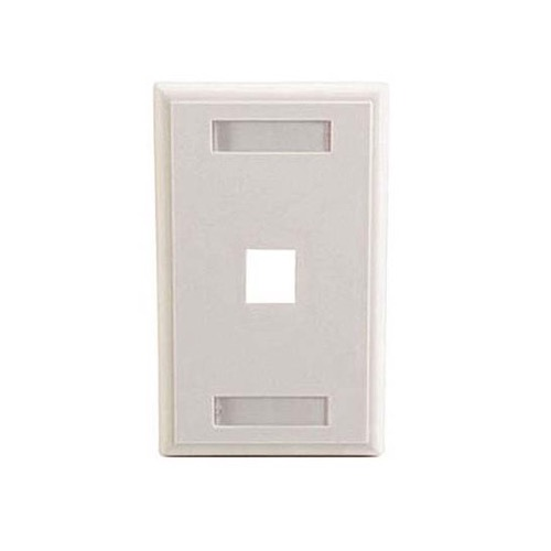 Eagle One Port Keystone Wall Plate White ID label Slot Multimedia Write On Label Holders Slot Multimedia QuickPort 1 Cavity Flush Mount Component Snap-In Insert Connection