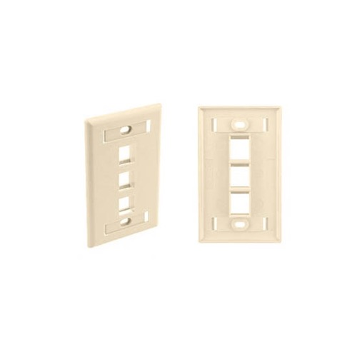 Eagle 3 Port Ivory Wall Plate Keystone 3 Cavity with Information Tags Commercial Grade ID Tag Slot Triple Cavity QuickPort Flush Mount, Easy Audio Video Data Junction Component Snap-In Insert Connection