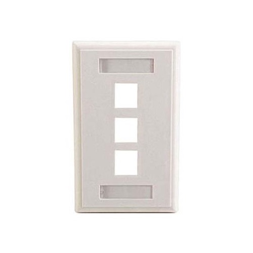 Eagle 3 Port Keystone Wall Plate White ID Label Slot Multimedia Write-On with Label Holders Slot Multimedia 3 Cavity Flush Mount, Audio Video Data Junction Snap-In Insert