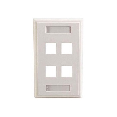 Channel Master 4 Port Cavity Wall Plate White Keystone QuickPort Labels Write-On with Holders Slot Multimedia 4 Cavity Flush Mount, Audio Video Data Junction Component Snap-In Insert, Part # AKDFP4W