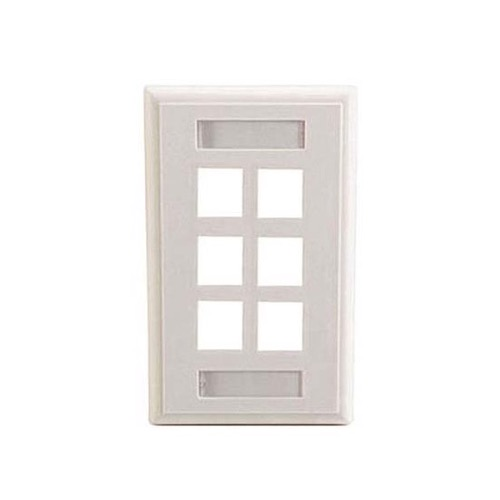 Eagle 6 Port Keystone Wall Plate White ID Label Slot Multimedia Write-On Holder for Identification 6 Cavity QuickPort Commercial with ID Tag Slot Multimedia Flush Mount
