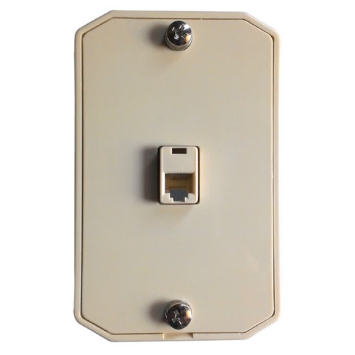 Eagle Telephone Wall Mount Jack Plate RJ12 Modular Ivory 6P6C Conductor Surface Hanger Bracket Audio Data Line Signal