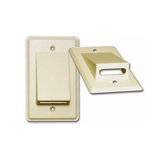 Eagle Wall Plate Cable Ivory Bulk Flat Ribbon Relaxed QuickPort Keystone and Multiple Flush Mount, Audio Video Data Junction Component Wide Pass-Through Opening Slot