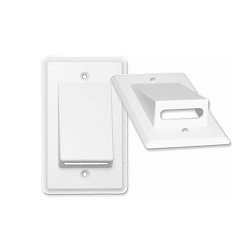 Eagle Bulk Cable Wall Plate White Flat Ribbon SIngle Gang Wall Plate White Bulk Single Gang Flat Relaxed QuickPort Keystone Flush Mount AV Data Junction Component Wide Pass-Through Opening Slot