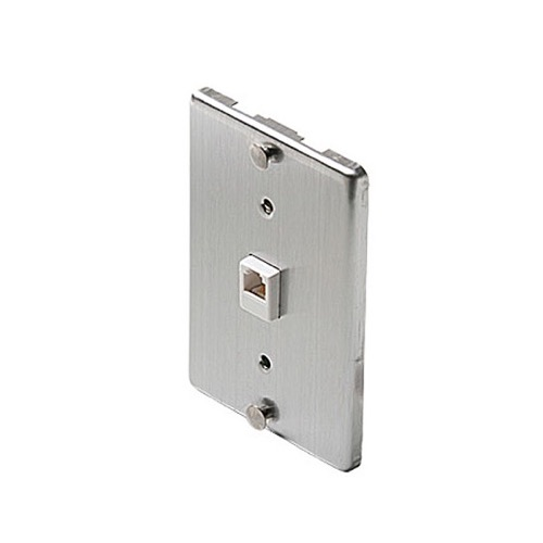 Leviton 40233-S Telephone Stainless Steel Wall Plate Jack RJ11  6P4C Flush Mount Plate RJ-11 Telephone Mount Cover, Part # Leviton C-0256, C0256
