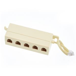 Phone Junction Block Jack Ivory Box Modular Surface Mount Up to 4 Extension Phone Line Splitter from One Line Screw Terminal 4 Wire Conductor Telephone with Plug Connect Terminal, Part # Leviton C0218I