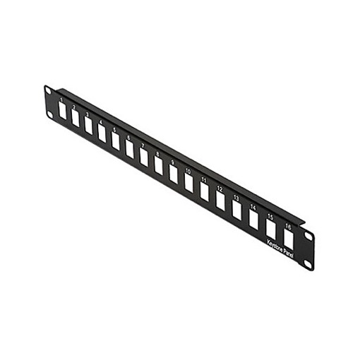 "Eagle 16 Port Patch Panel Snap-In Blank 1-Row Steel 19"" Inch W x 1 3/4"" H x 6"" D Modular Keystone Inserts ID Ports Labeled Rack Bracket Mountable 16 AWG Black Powder Coated Steel 1 x EIA"
