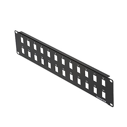 "Steren 310-224 24 Port Keystone Snap-In Patch Panel Blank 2-Row 19"" Inch Commercial Grade Modular Inserts ID Ports Labeled Rack Bracket Mountable 16 AWG Black Powder Coated Steel, Part # 310224"