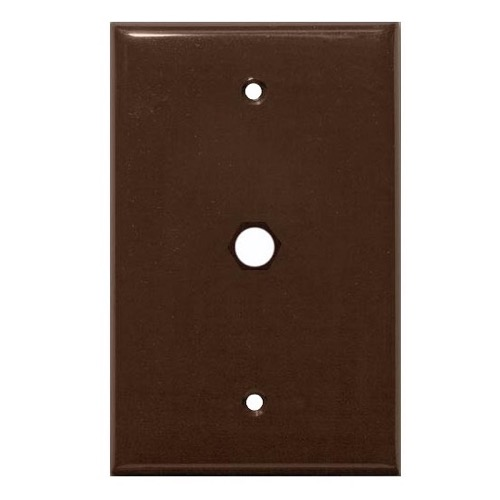 Steren 200-254BR TV Wall Plate Blank Brown 1-Hole Coaxial Port Single Gang Connector Audio Video Data Signal 75 Ohm Plug Connector Nylon Flush Mount Outlet Cover with Hole, Part # 200254-BR
