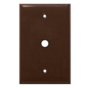 Steren 200-254BR Wall Plate Blank Brown 1-Hole Coaxial Port Single Gang Connector Audio Video Data Signal 75 Ohm Plug Connector Nylon Flush Mount Outlet Cover with Hole, Part # 200254-BR