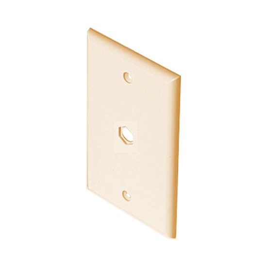 Pass Seymour Single Hole Wall Plate Ivory Single Gang 3/8 Inch Socket F Conenct Telephone Cable Splitter Pass Through Device Connector Device Nylon Flush Mount Outlet Cover