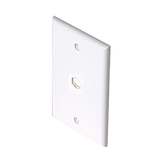 Eagle Wall Plate White One Hole Hex Single Gang Device F Phone or Cable Pass Through Wall Plate Single Gang Coaxial Connector Device Cable Hole 75 Ohm Plug Connector Nylon Flush Mount Cover
