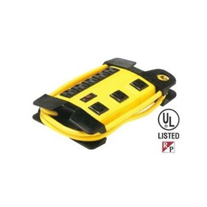 Steren 905-608 8 Outlet Power Strip AC Safety Yellow Metal Housing PVC Jacket Work Shop Professional Grade with Heavy Duty 6' FT Cord Management, Lighted On/Off Power Switch, Part # 905608